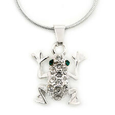 Small Crystal Frog Pendant With Silver Tone Snake Chain - 40cm Length/ 4cm Exten