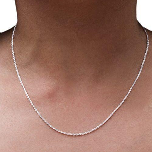 Argent Sterling Collier-Bracelet Diamond-Cut Corde Chaîne 2 mm 925 Argent Massif