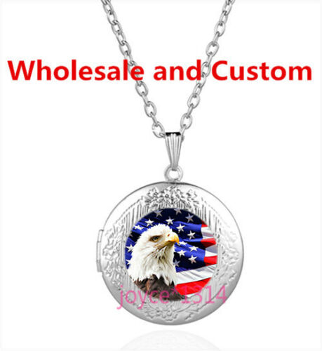 Bald eagle and Flag Cabochon Tibetan silver Glass Locket Pendant Necklace #4340