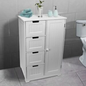 Bathroom-Bedroom-Nursery-Storage-Cabinet-Dresser-4-Drawer-Door-White
