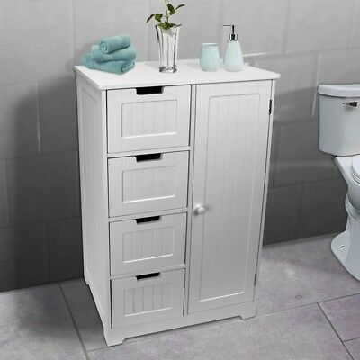 Bathroom Bedroom Nursery Storage Cabinet Dresser 4-Drawer + Door (White)
