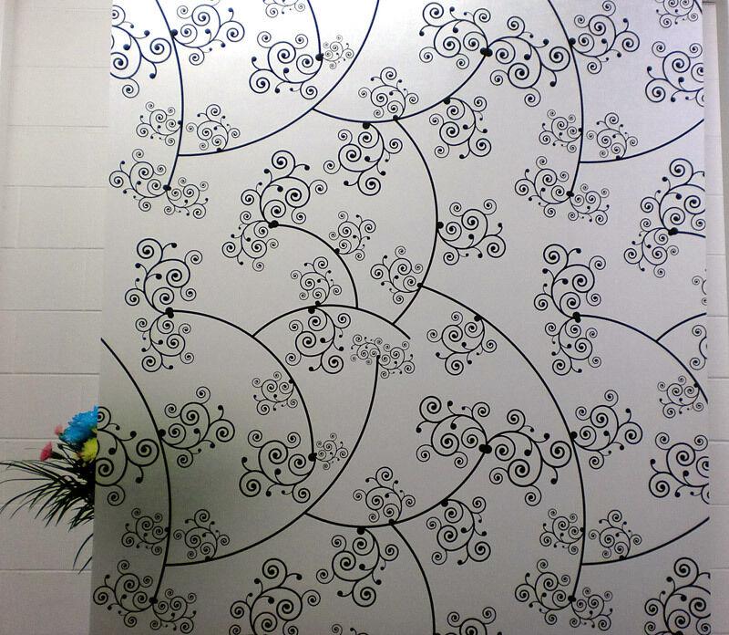 Privacy Window Film, Floral swirl Design, Self Adhesive, Window Cover, Modern
