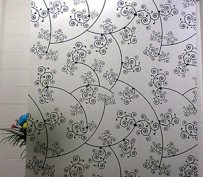 Getrouw Privacy Window Film, Floral Swirl Design, Self Adhesive, Window Cover, Modern Weelderig In Ontwerp