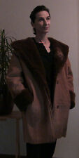 J. Percy For Marvin Richards Women's Brown Leather Hooded Winter Coat