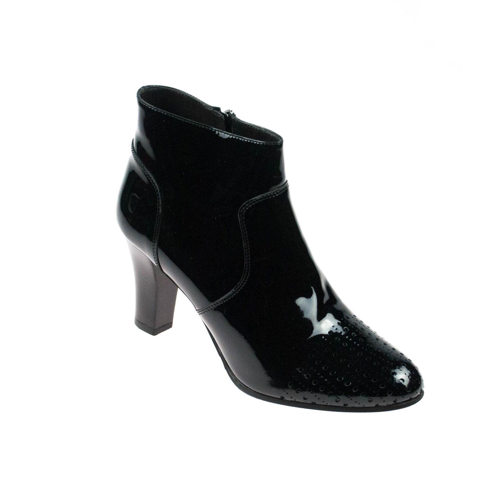 Triver Flight señora botines de cuero charol negro