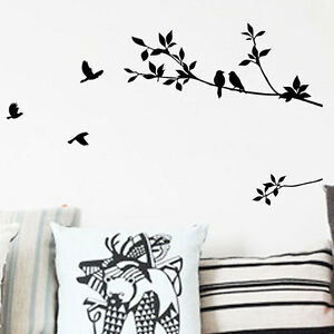 Black tree bird removable wall decals sticker decal mural for Black tree mural