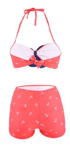 Coste carogna Sybille 50s ancoraggio Sailor Pin Up Bikini Set-Rosso Rockabilly