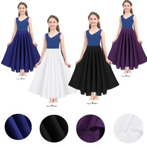 Children Kid Girl Long Skirt Solid Color Maxi Skirts Dress Uniform Party Casual