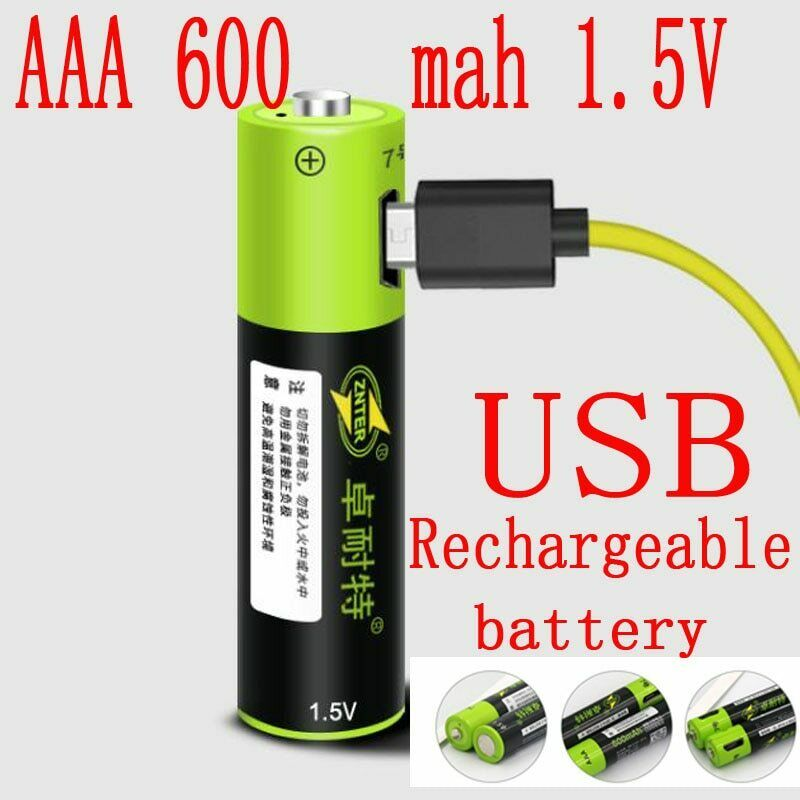 1.5v aaa rechargeable battery 600mah usb cable quick charge li