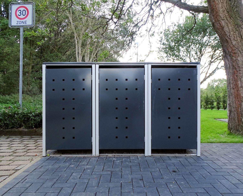 3 scatole dei rifiuti Modello No. 7 GRIGIO ANTRACITE PER 240 LITRI bidoni della spazzatura