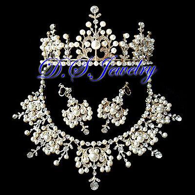 Pearls & Colourful Swarovski Crystal Rhinestones Neklace & Earring & Crown/Tiara