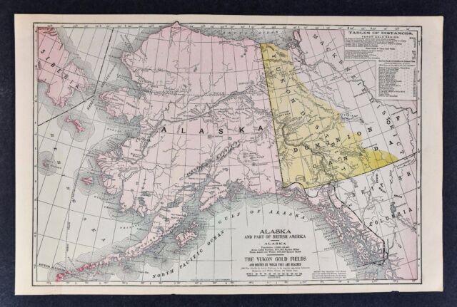 1897 Map Alaska Canada Yukon Gold Fields Dawson Dalton Trail