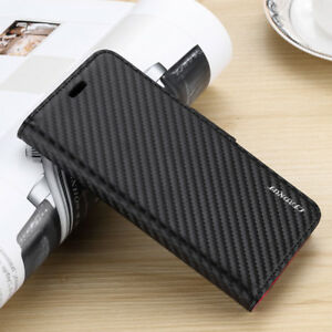 Carbon-Fiber-Leather-Flip-Wallet-Case-Cover-For-iPhone-8-Plus-XR-XS-MAX-Samsung