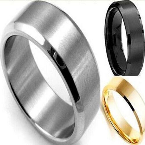 8MM Edelstahl Ring Titan Silber Schwarz Gold Herren SZ 17 bis 22 Hochzeit BCDEZP