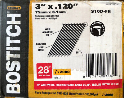 BOSTITCH S10D-FH 28 Degree 3-Inch by .120-Inch Wire Weld Framing Nails 2,000