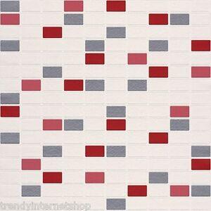 Vinyl Tapete Rasch Aqua Deco 817102 Rot Silber Grau Weiss Mosaik