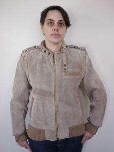 Vintage-80s-Suede-Leather-amp-Knit-Stone-Beige-Womens-Cafe-Racer-Mod-Jacket-M-L