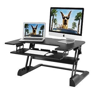 Image Is Loading Adjule Height Sit Standing Desktop Workstation Desk Computer