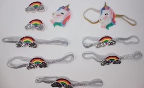 13 Pc Baby Girl/'s Elastic HeadBands Multicolor Lovely Unicorn //Rainbow Headwear