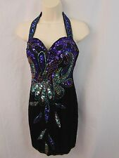 Ayce Designs Black Green Red Beaded Sequins Halter Holiday Christmas Dress 4