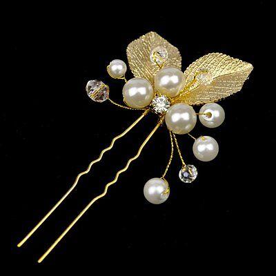 1 Forcina Per Capelli Foglie Perle Matrimonio Strass Tiara Diadema Fiore Sposa Forma Elegante