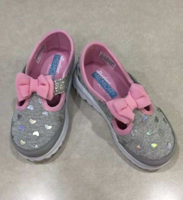 "e310786a17b39 SKECHERS GOwalk ""Bitty Hearts"" Toddler Girl's Gray/Pink Sneakers~~Size 10"