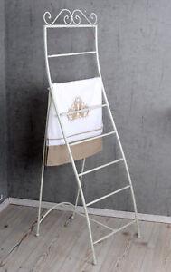 Radient Handtuchleiter Weiss Handtuchständer Shabby Metallständer Standhandtuchhalter Fest In Der Struktur Antiquitäten & Kunst