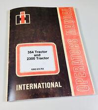 International 354 2300 Tractor Owners Operators Manual Maintenance Controls