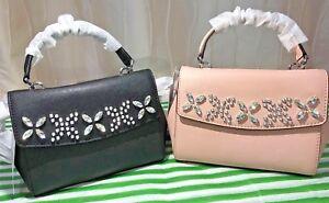 976695fd58f4 MICHAEL KORS MK Ava crystal jewel satchel crossbody bag leather pink ...