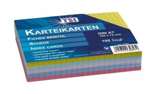 100 Karteikarten DIN A7 kariert farbig