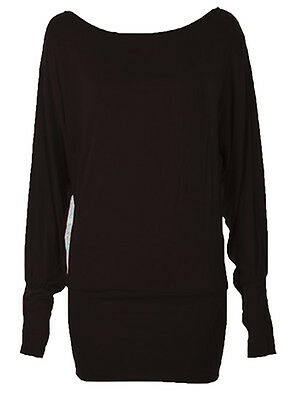 WOMENS ONE OFF SHOULDER BATWING LONG SLEEVE SLOUCHY T-SHIRT BAGGY TOP SIZES 8-26
