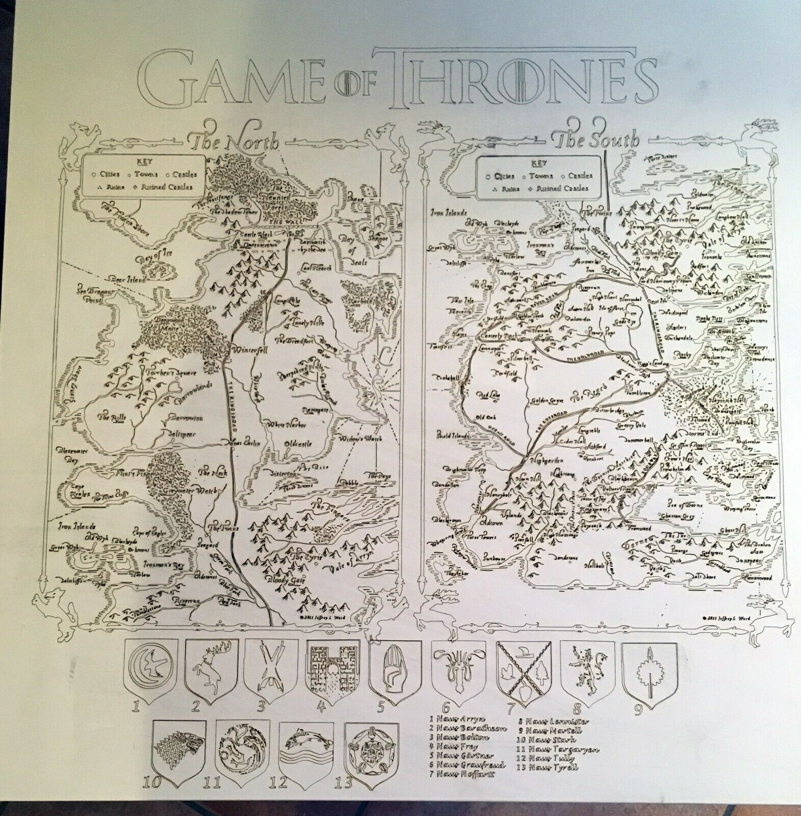 DIY Game of Thrones Tisch ( 55x55cm) mit den Karten  the North   the South