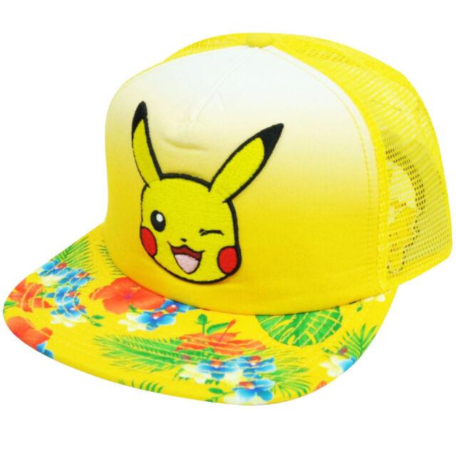Nintendo Pokemon Pikachu Flowers Pattern Yellow Mesh Flat Bill Snapback Hat  Cap 4def630d024d