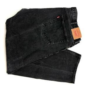 Levi-039-s-505-Denim-Jeans-Men-039-s-Size-42-X-32-Black-Straight-Fit-Cotton-Dark-Washed