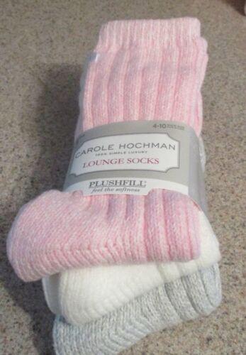 Carole Hochman Womens Lounge Socks 3 Pair Pack Ribbed Plushfill Luxury 4-10