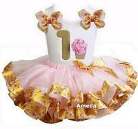 Pink Gold Rose Satin Trimmed Tutu 1st-6th Cupcake Birthday Party Dress