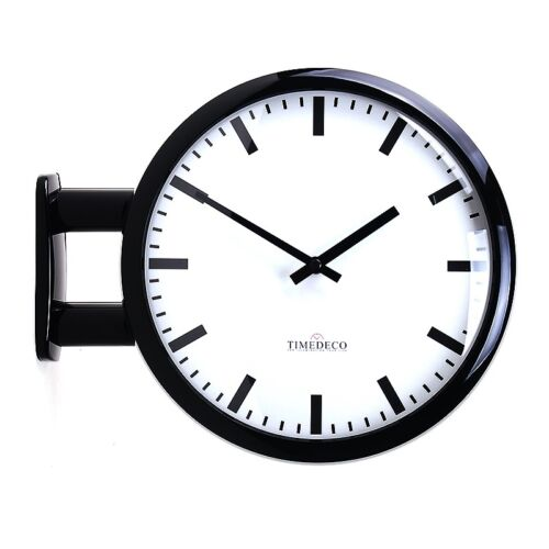Modern Art Design Double Sided Wall Clock Station Clock Home Decor - MDCLineBK