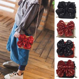 Am-Kinder-Kunstleder-Schleifenknopf-Schultertasche-Einzel-Tasche-Handtasche