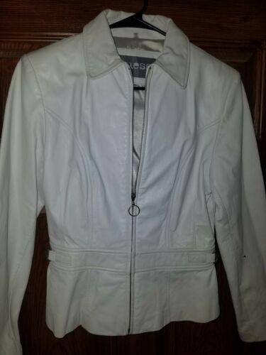 Guess White Leather Jacket Medium Women's