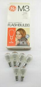 (6) GE M3 USA Photoflash Clear Unfired Flash Bulbs With Box  Vintage L22F