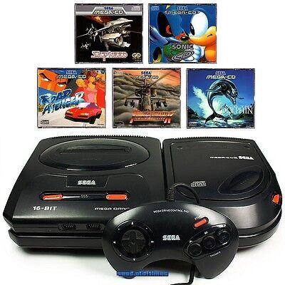 ## SEGA Mega-CD 2 Konsole + Mega Drive 2 + 5 Spiele + Pad + Strom- & TV-Kabel ##