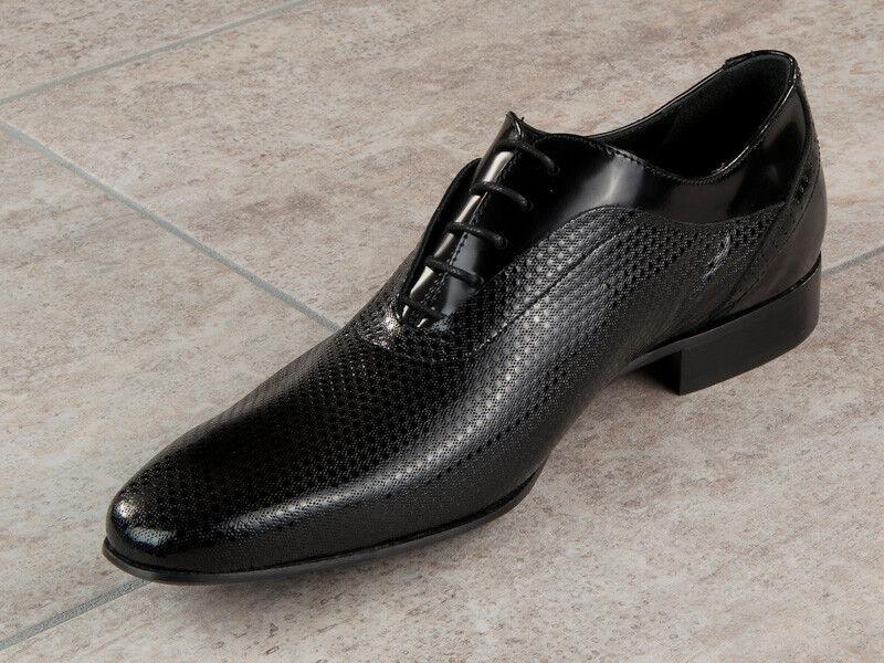 Eveet cuir chaussures italiennes Taille 6 Noir Nouveau