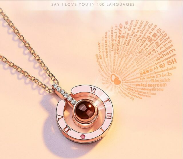 Rose Gold 100 Languages Light  I LOVE YOU Projection Pendant Necklace Gift