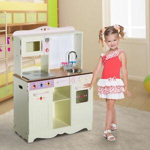44673f213cdc Image is loading HOMCOM-Kids-Children-Wooden-Kitchen-Role-Play-Set-