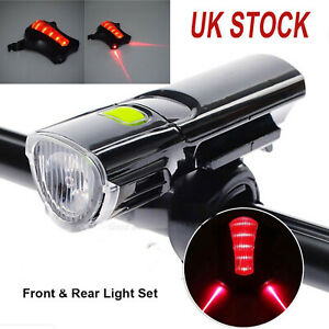 MTB-Road-Bike-Bicycle-Cycling-Head-Front-Lights-w-2-Laser-Rear-Tail-Lamps-Set-UK