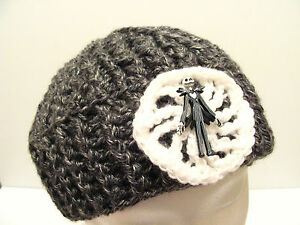 Crochet Beanie Hat Cap with JACK SKELLINGTON Nightmare Before Christmas BUTTON