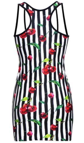 Cherry Leaves Tart Monochrome Striped Cherries Vintage Retro Long Vest Top