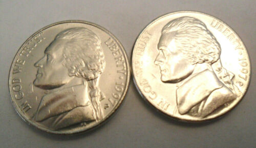 **FREE SHIPPING** 1997 P /& D JEFFERSON NICKEL SET 2 COINS