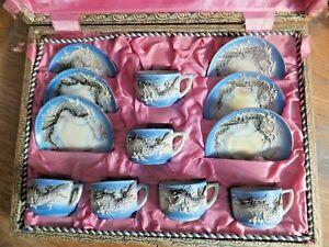 Antique-Japanese-Porcelain-Dragonware-Moriage-Tea-Set-in-Original-Box-Sky-Blue