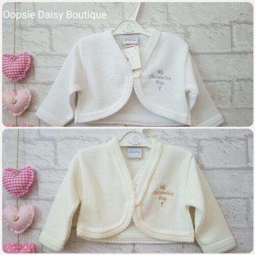 Baby Girls My Christening Day Embroidered Bolero Style Cardigans Dandelion